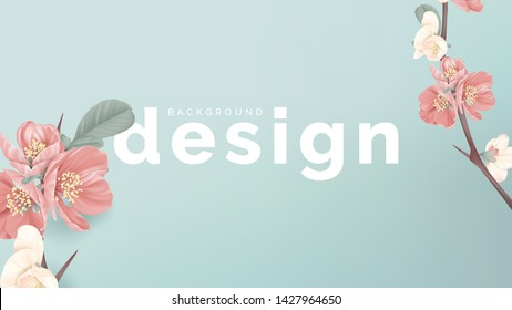 Floral banner background template design, pink Japanese quince flowers on blue