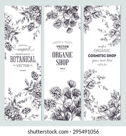 Floral banner collection. Organic shop. Vector illustration