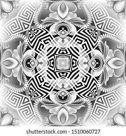 Floral Baroque style abstract greek vector seamless pattern. Black and white ornamental greek background. Vintage flowers. Greek key meanders. Intricate ornate ornament with flowers, leaves, shapes.