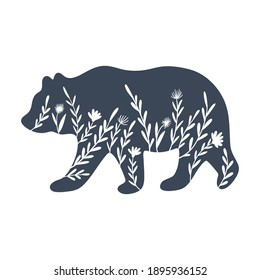 Floral bear silhouette vector illustration. Inverted monochrome design for prints, shirts, posters.