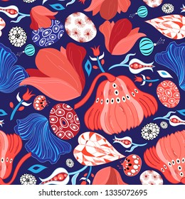 Floral beautiful bright seamless vector pattern on blue background