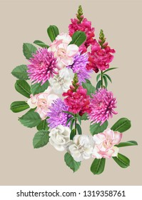 Floral beautiful nature bouquet  with snapdragon,begonia and rhododendron and chrysanthemum -vector