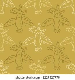 Floral Bird Seamless Vector Pattern. Boho Folk Flower, Peace Dove Flying Birdies. Hand Drawn Style Summer Illustration for Pretty Feminine Fashion Print, Garden Packaging. All Over Ecru Mustard Yellow