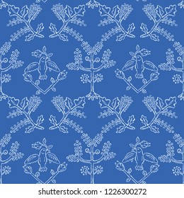Floral Birds Seamless Vector Pattern. Folk Tree with Peace Dove Birdies. Hand Drawn Boho Quilt Style Summer Illustration for Feminine Fashion Prints, Decorative Garden Packaging. All Over White Blue