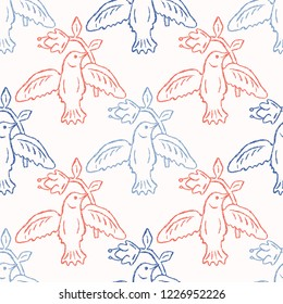 Floral Birds Seamless Vector Pattern. Boho Folk Flower, Peace Dove Flying Birdies. Hand Drawn Quilt Style Summer Illustration for Pretty Feminine Fashion Prints, Garden Packaging. All Over Red Blue
