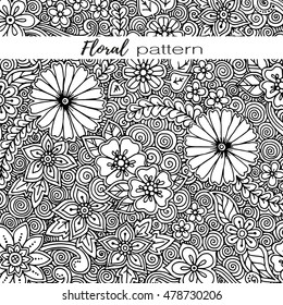 Floral black and white card. Vector template corporate identity. Business artwork. Background for web, printed media design. Banner, business card, flyer, invitation, greeting card, postcard.