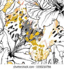 Floral Black and White Pattern. Yellow Artistic Watercolor Print. Outline Flowers Seamless Surface. Botanical Vector Motif. Bloom Texture For Fashion. Drawing Abstract Leaf. Trends Tropic Background.
