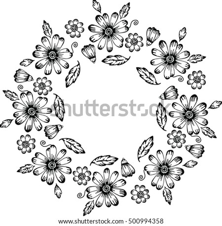 Floral Black White Round Frame Fabric Stock Vector (Royalty Free ...