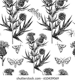 Floral black and white seamless vector pattern with thistle branches and butterflies.