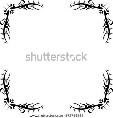 floral black and white silhouette corner border frame