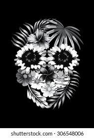 Floral black and white skull print