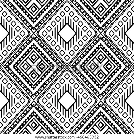 Floral Black White Vintage Seamless Pattern Stock Vector Royalty