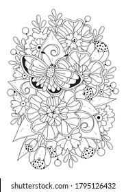 Fondo floral blanco-negro, página de coloreo para niños y adultos. Hermosas flores y una mariposa. Ilustración vectorial.