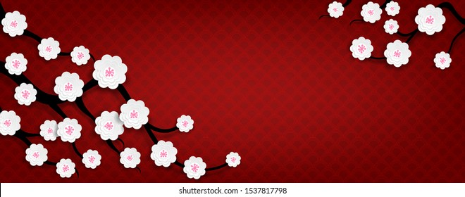 Floral blooming flowers branch on bright red backdrop, Chinese cherry blossom paper cut out style. Spring  season design for banner, poster, flyer with place for your text. Vector illustration
