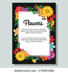 Floral blossom cute flower poster template on black background