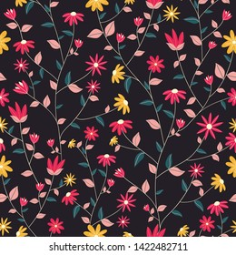 Floral blossom garden seamless pattern with black background