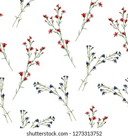 Floral blossom seamless pattern. Trendy colorful vector texture. Blooming botanical elements scattered random. Good for fashion. Ditsy print. Hand drawn small flowers on white background. Retro style