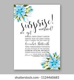 Floral Blue dahlia wedding invitation vector printable card Bridal shower bouquet wreath