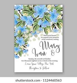 Floral blue sakura wedding invitation vector printable card/ Bridal shower bouquet wreath