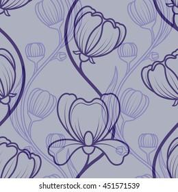 Floral blue vintage seamless background. Vector illustration