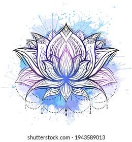 floral, boho, flower, illustration, lotus, bohemian, india, decoration, ethnic, tattoo, yoga, outline, ornament, native, paisley, vector, meditation, indian, sign, white, zen, lace, mandala, stylized,