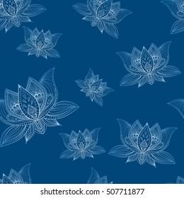 Floral bohoo vintage seamless pattern with lotus flowers