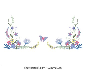 Floral border with butterfly set