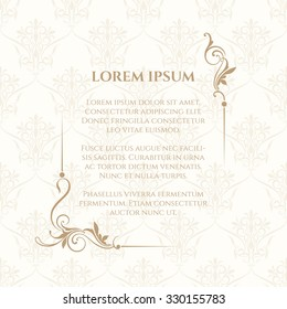 Floral border and classic seamless pattern. Template for greeting cards, invitations, menus, labels. Graphic design page. Wedding invitation. Vector illustration.