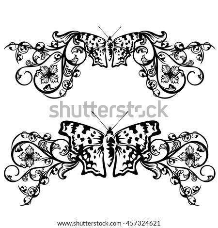Floral Border Design Butterfly Flowers Black Stock Vector Royalty