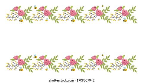 Floral border elements. Botanical bloom beautiful spring frame