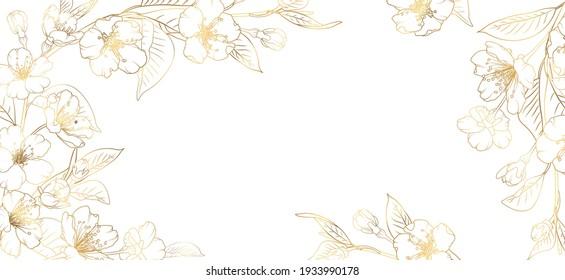 Floral border frame card template. Golden gradient on white background. Cherry, sakura, rose flowers. Vector design illustration. for bunner, wedding card. Rectangle corners sides decoration.