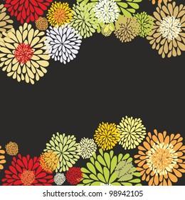 Floral border pattern on dark background