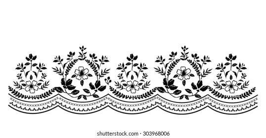 Floral border print in vector