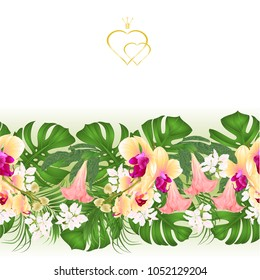 Floral border seamless background bouquet with tropical flowers  floral arrangement, with beautiful yellow orchid, palm, philodendron and Brugmansia vintage vector illustration  editable hand draw