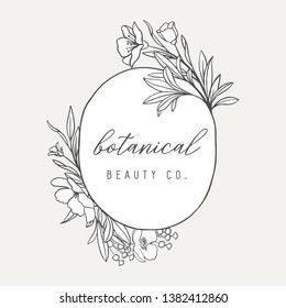 Floral Botanical Logo Illustration - Botanical logo design with hand drawn illustrations and frame. The elements can be separated and rearranged or used individually.
