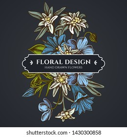 Floral bouquet dark design with edelweiss, meadow geranium, gentiana