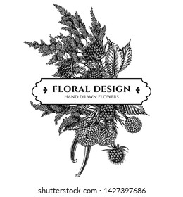 Floral bouquet design with black and white astilbe, craspedia, blue eryngo