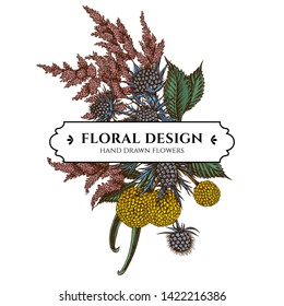 Floral bouquet design with colored astilbe, craspedia, blue eryngo
