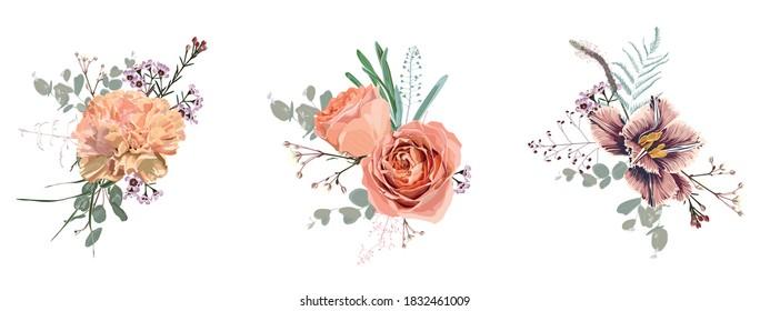 Floral bouquet design: garden  creamy powder pale Rose wax, tulips and carnation flower, Eucalyptus branch greenery leaves. Wedding invite card  designer element set.