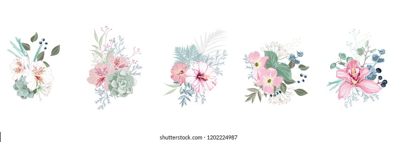 Floral bouquet design: garden pink orchid flower, hibiscus, magnolia Eucalyptus branch greenery leaves berry. Wedding vector invite card. Designer element set. White background.