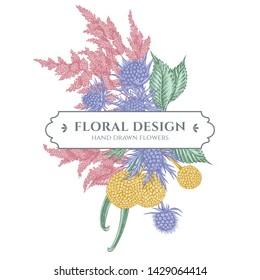 Floral bouquet design with pastel astilbe, craspedia, blue eryngo