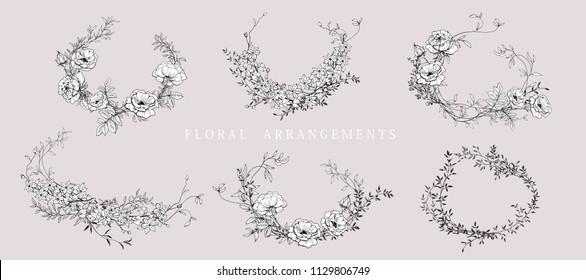 Floral bouquet design. Wedding invitation arrangement. Botanical frame. Hand drawn flowers. Composition for card, invitation, save the date.