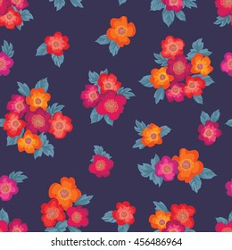 Floral bouquet seamless pattern. Flower posy background. Floral ornamental texture with flowers. Flourish tiled wallpaper
