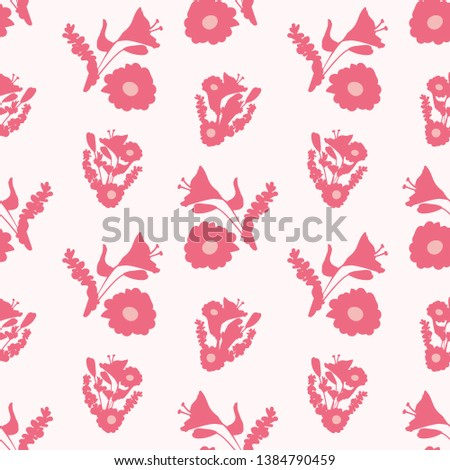 Floral Bouquet Silhouette Seamless Pattern Light Stock Vector
