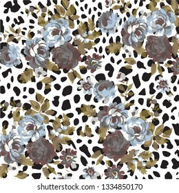 Floral bouquet vector pattern with Animal print, leopard texture background