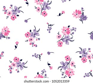 Floral bouquet vector pattern with small flowers and leaves