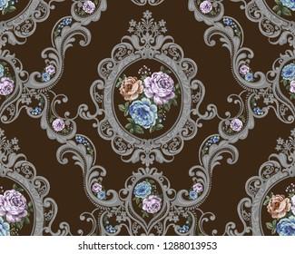 floral bouquet walpaper. garden yellow peach lavender creamy powder pale Rose wax flower.Flowers in damask