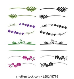 Floral branches, twigs and elements for logo. Simple branches with leaves. Can use with text.