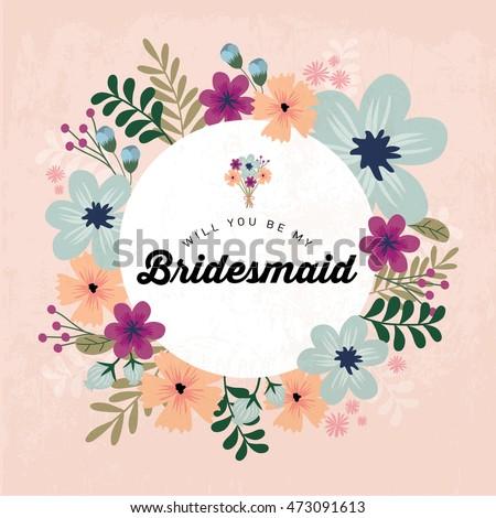 floral bridesmaid invitation card template vectorillustration stock