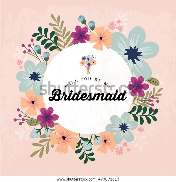 Floral Bridesmaid Invitation Card Template